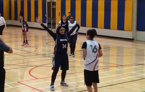 R. Agha (19) defends the inbound pass