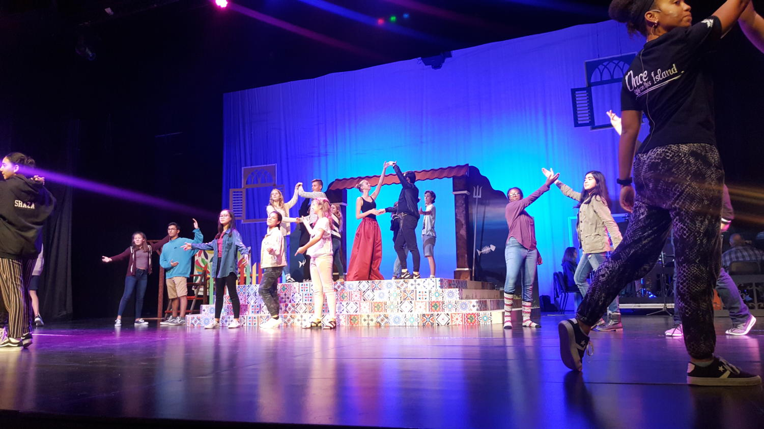ASD cast practices the musical number