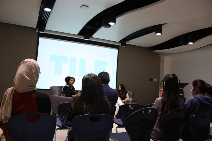 Guest speaker Fatima Al-Mahdi spoke to TILE Club students about her career, pursuing their passions, and goal-setting.