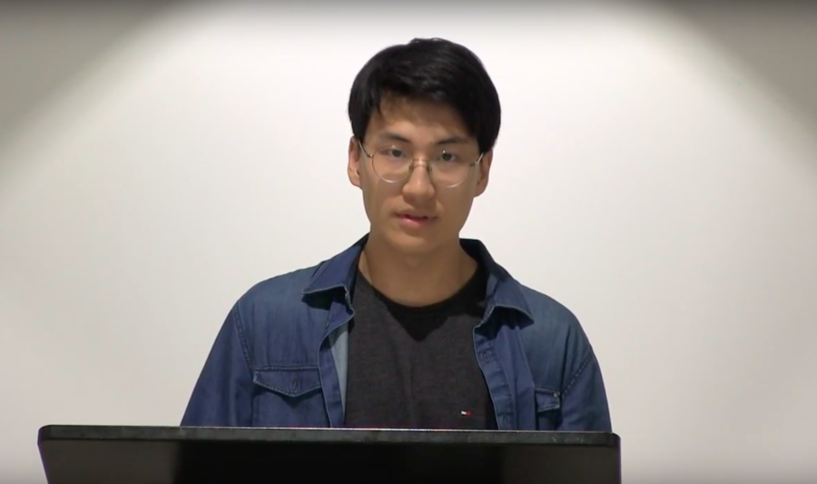 B. Choi ('19), the STUCO Executive President,  presented information regarding the student organization's new constitution and related changes during the November press conference.