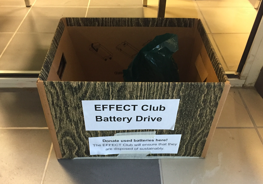 The EFFECT Club's used battery collection will wrap up this week. Boxes such as this one are located in each of the commons as well as the reception area.