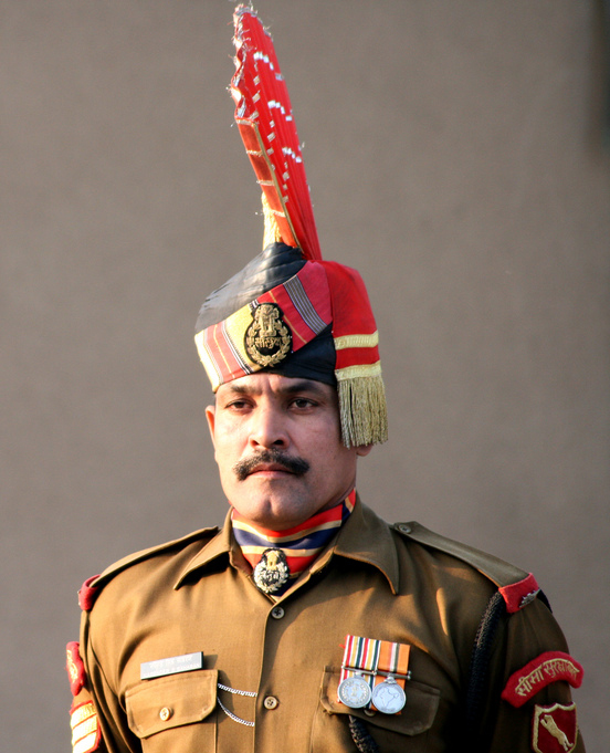 A member of the Indian Border Security Force, which R. Ghandi wants to cut down by 25% or more. Source: Jovianeye, by Still Thinking Derivative Productions.