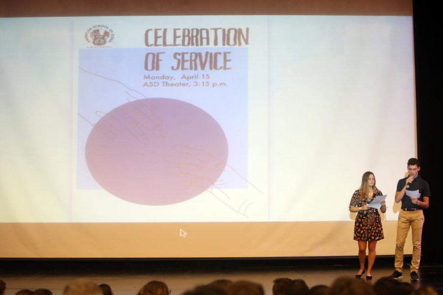 The 2019 ASD Celebration of Service was facilitated by the two student announcers, D. Wilson ('19) and G. Stotland ('19).