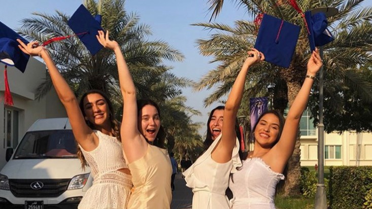 Despite late summer Doha heat and some confusion about timings, four ASD seniors -- P. Dos Ramos, S. McBride, S. Inaty, I. Montiel -- rejoiced in the early opportunity to pose for graduation pictures.