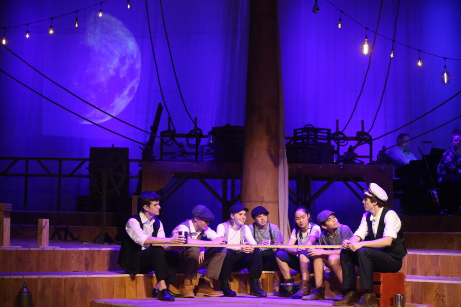 ASD Thespians William C. ('22), Lucas S. ('22), Amira T. ('21), Canon W. ('22), Leanne J. ('22), and David C. ('23) represent the five sailors that the Old Man, Klein W. (19), encounters.