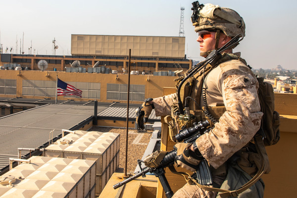 US Marines with 2nd Battalion, 7th Marines assigned to the Special Purpose Marine Air-Ground Task Force-Crisis Response-Central Command 19.2 reinforce the Baghdad Embassy Compound in Iraq, Jan. 3, 2020. The SPMAGTF-CR-CC is a quick reaction force, prepared to deploy a variety of capabilities across the region.
