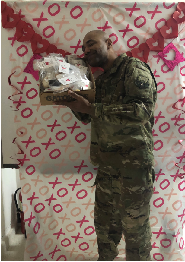 Local soldier showing his appreciation for the Valentines cookies
