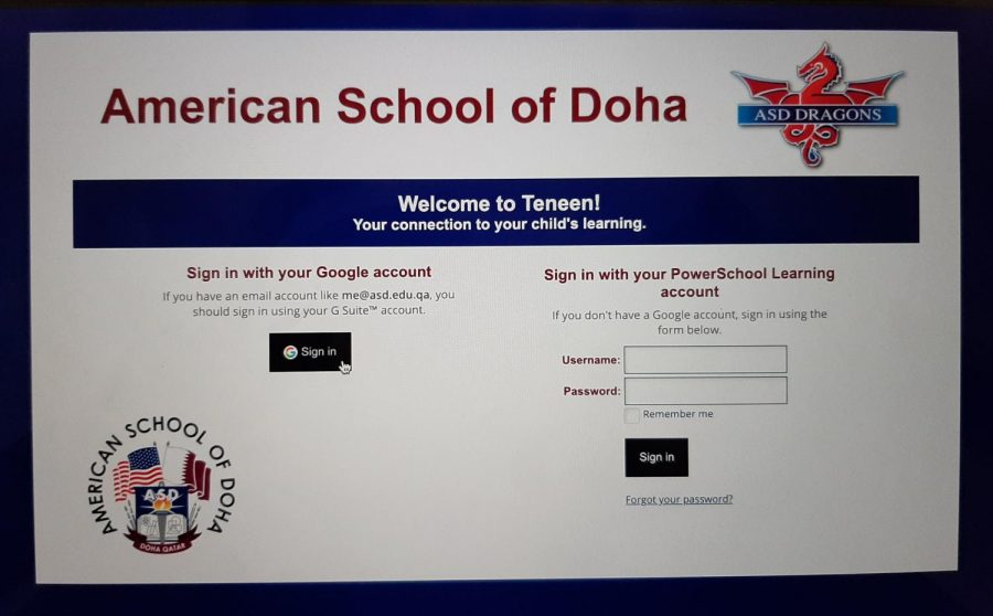 Teneen Virtual School is the website used for teachers to communicate with students (along with applications like Zoom) and assign tasks and tests.