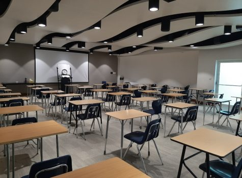 An empty room set up for the mock AP/IB exams sat vacant after the announcement of school closing.