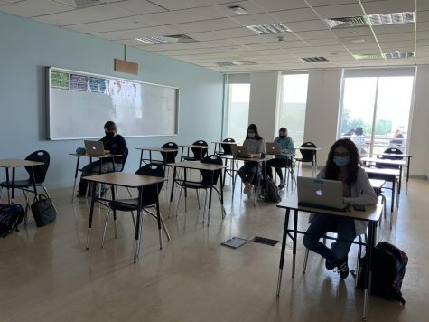 A class in session in the Social Studies wing during hybrid.