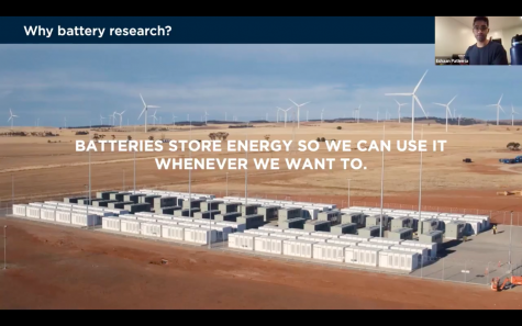 PhD candidate gives presentation on renewable energy